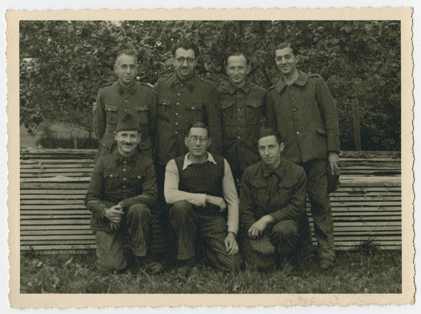 Group portrait of prisoners in Stalag 10 C.  Piictured in the back row (left to right) are Arnold Silberfeld, Leopold Guttman, and Henry Kahn.  Pictured in the front row (left to right) are Jean-Pierre Mayer-Astruc, Alexis Goldschmidt, and [unidentified].