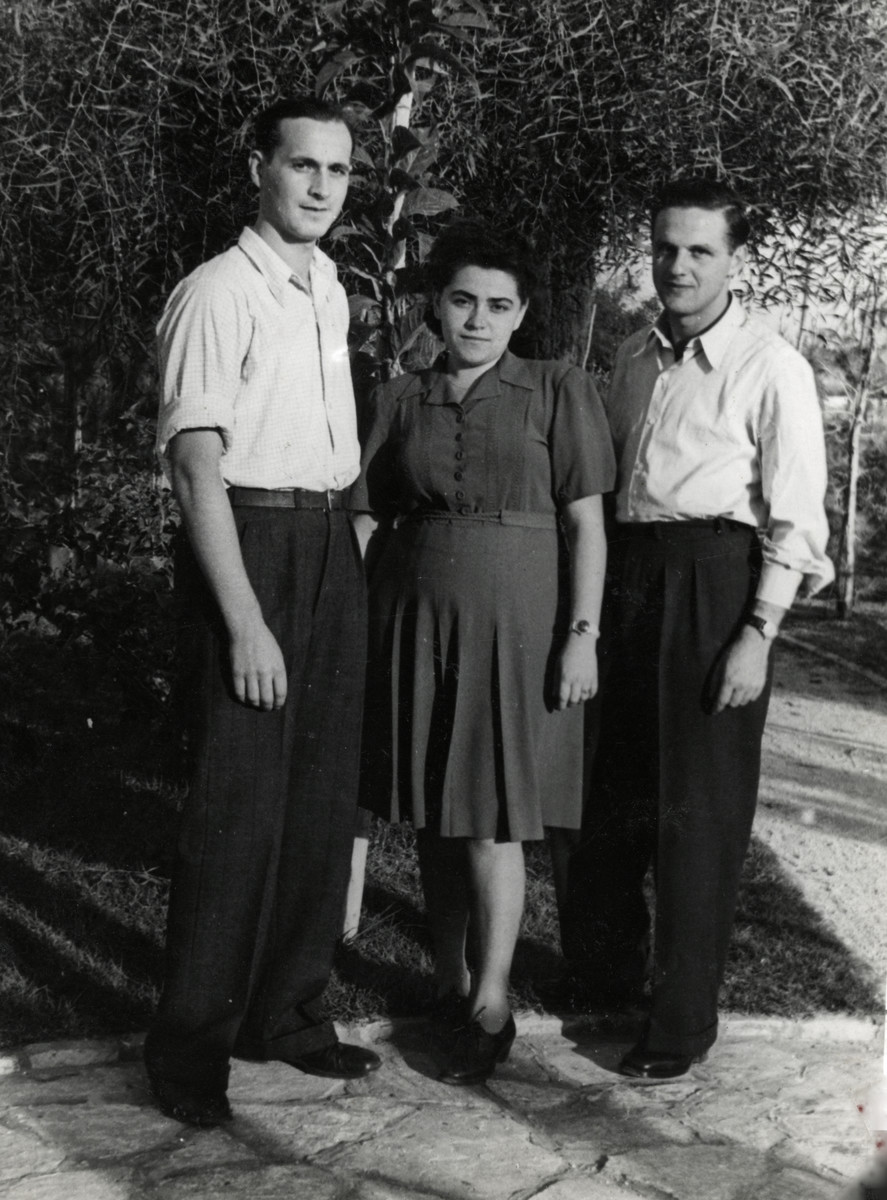 Three friends pose by a tree after arriving in Palestine.  From left to right are Kalman Grossman, Bracha and Yaakov Yovel.