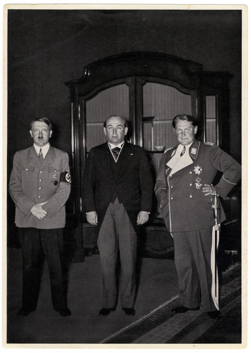 """Caption reads:  """"Visit to the Reich Chancellery (Prime Minister Gombos)   Gyula Gombos was the prime minister of the Kingdon of Hungary from 1932-1936."""