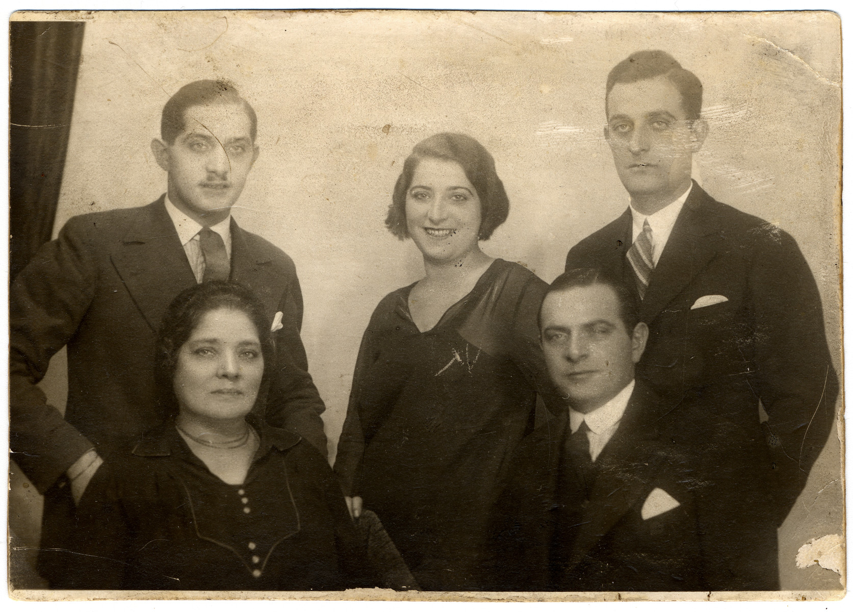 Studio portrait of the Biel family in prewar Budapest.  Pictured sitting are Caroline Wistrich Biel (grandmother of the donor) and her oldest son Josef.  Standing from left to right are Erno, Maria and Dezso.  (A second daughter was in the States on her honeymoon.)