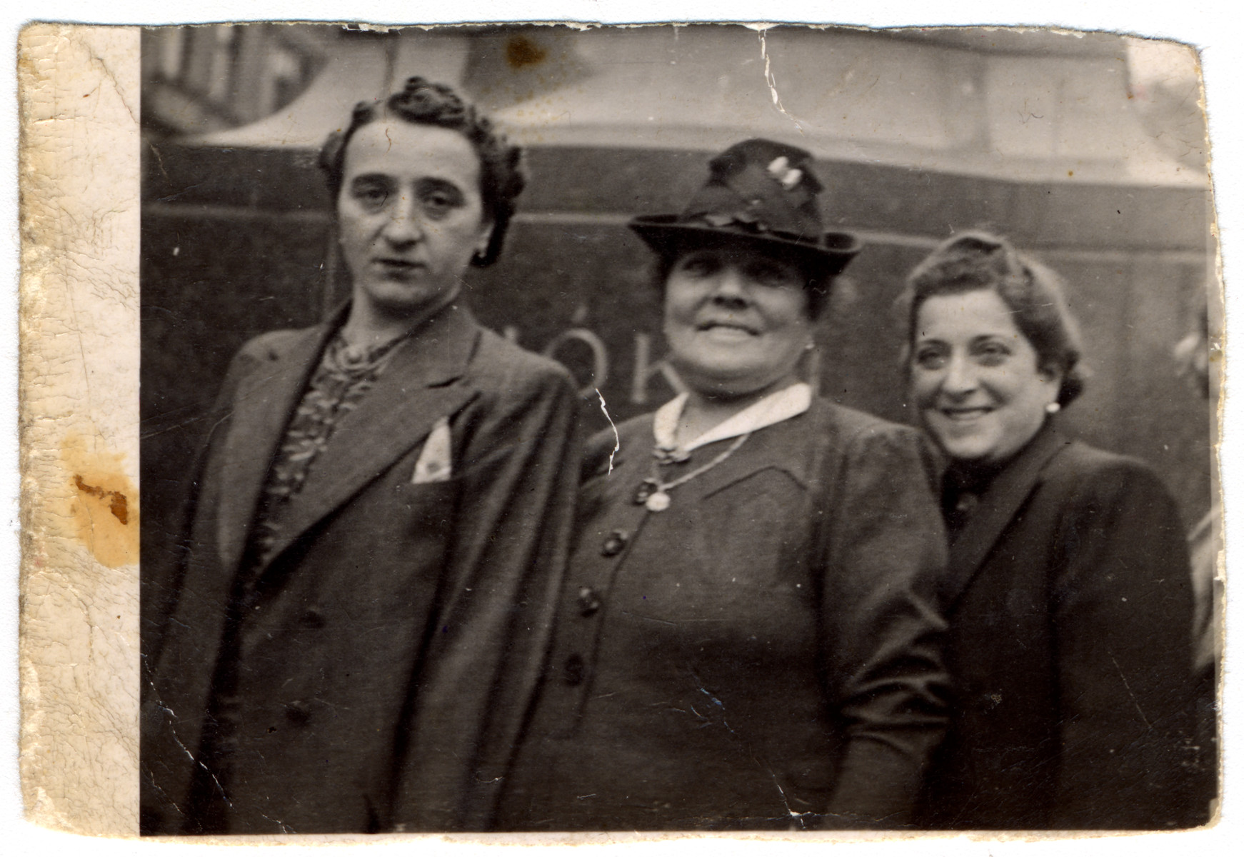 Close-up portrait of three Hungarian Jewish women.  Pictured are Katalin Biel (mother of the donor), her mother-in-law Carlyn Biel and sister-in-law Maria Biel.