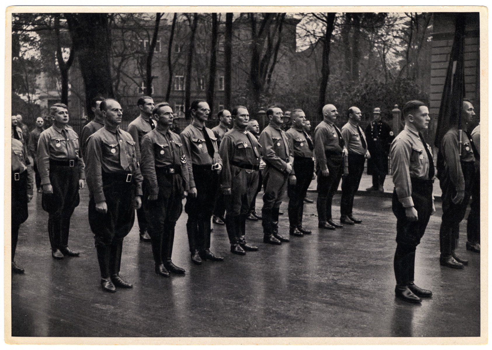 Nazi leaders gather in formation.  Among those pictured are Adolf Hitler and Hermann Goering.