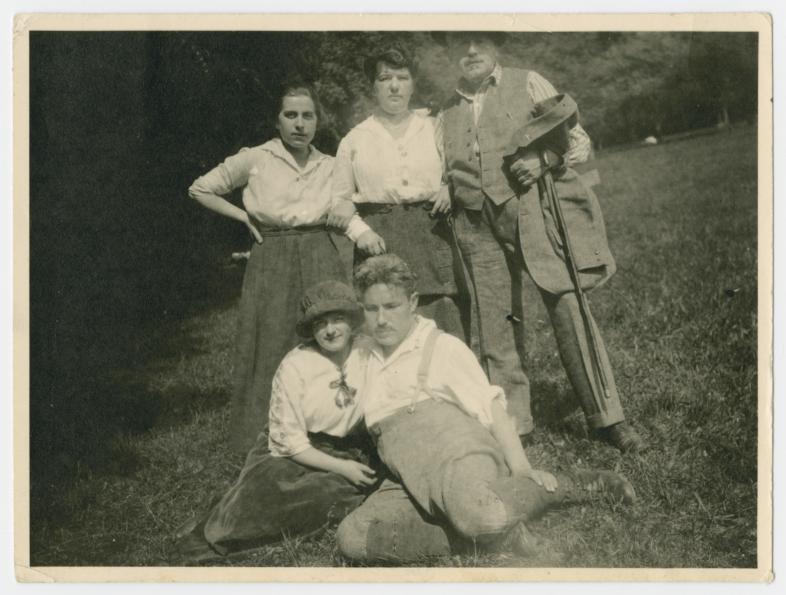Group portrait of friends in prewar Vienna.  Pictured in front are Margarete Pick Epstein and Julian Epstein.