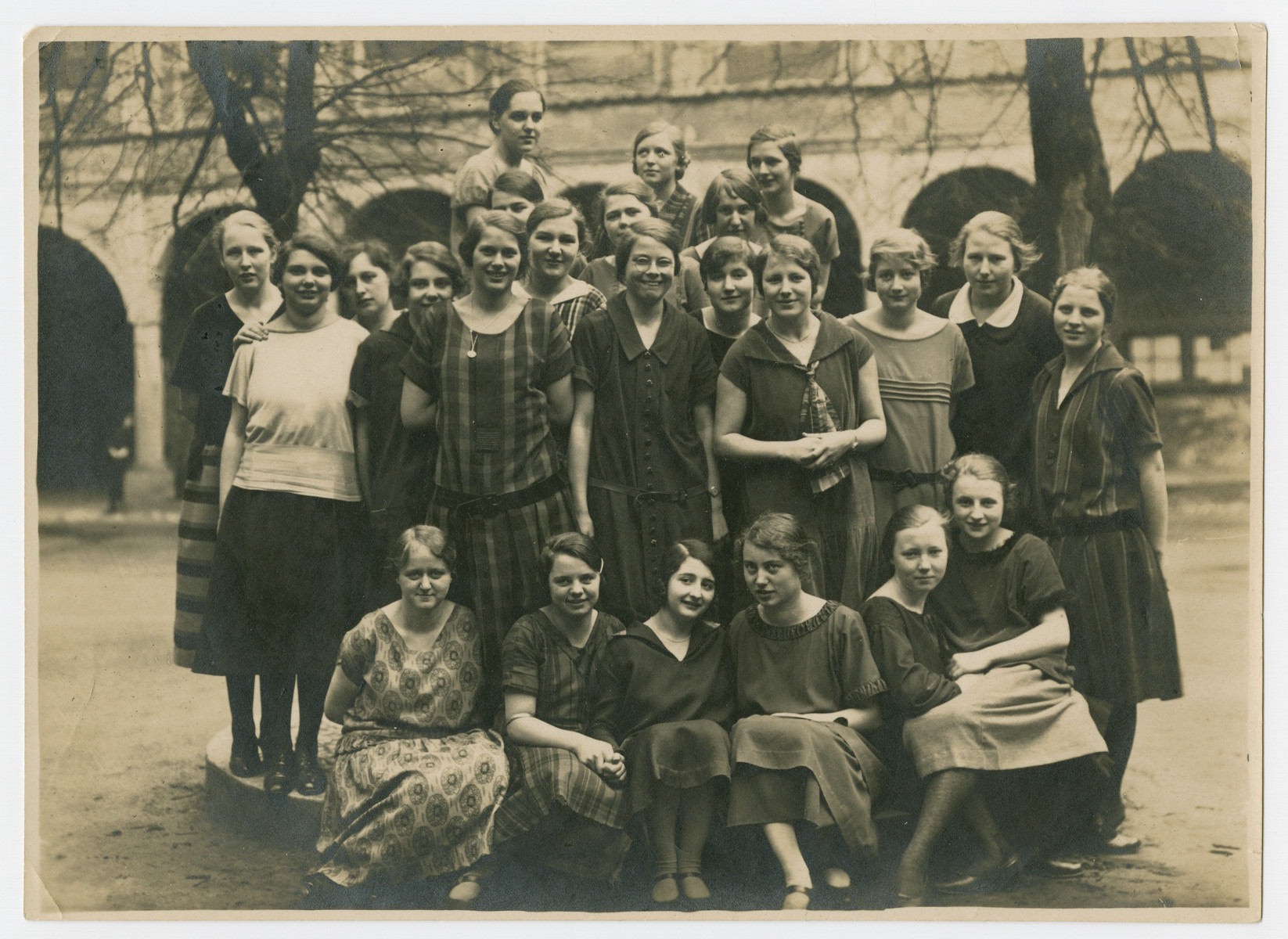 "Group portrait of female students at the Wolfenbuettel Lyceum.  The original caption reads: ""Youth is lovely for it comes only once.""  Among those pictured is Gretel David, front row center."