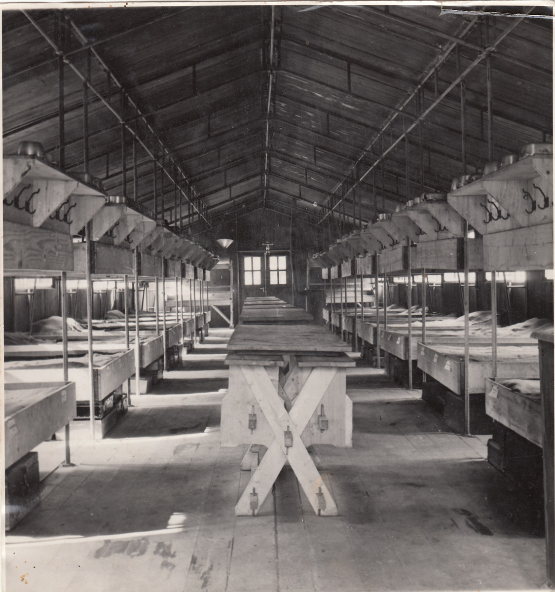 Interior view of a barracks of a forced labor camp in Hajduhadhaz.