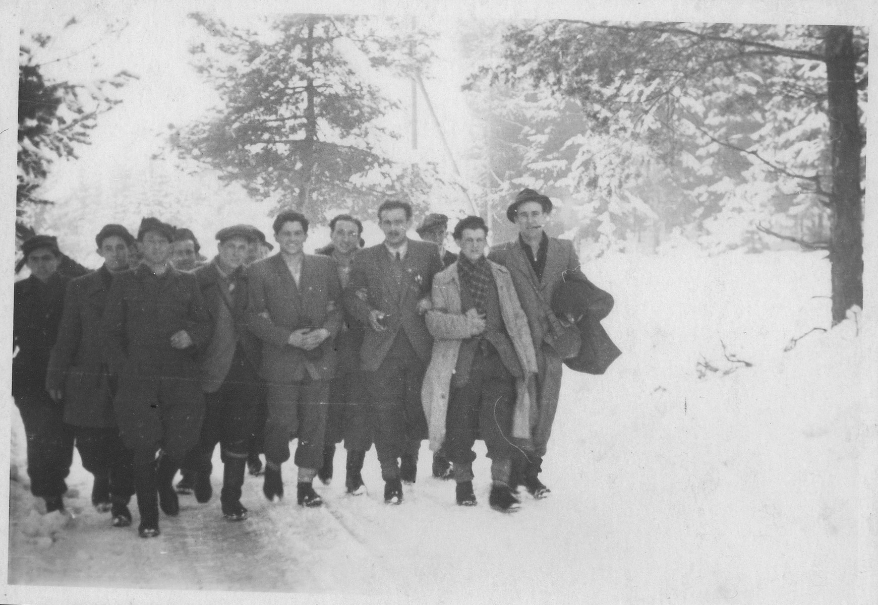 Shmuel Willenberg (third from right) leads a group of Jews across the Alps on their eventual way to Palestine.