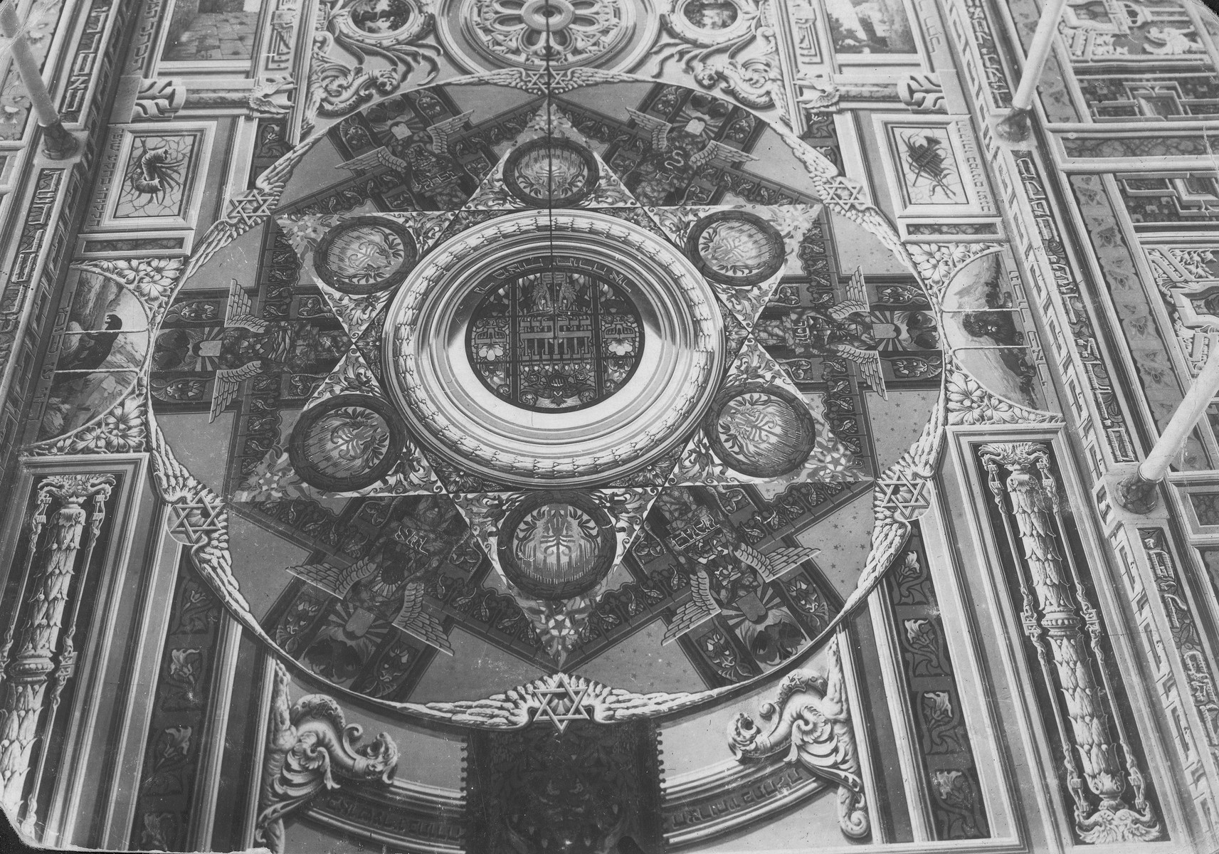 Interior view of a synagogue ceiling mural painted by Perec Willenberg in Czestochowa.