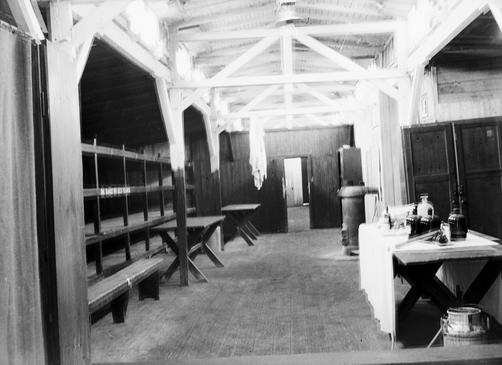 Interior view of a barrack at Buchenwald. Possibly taken after sanitation efforts were carried out by the 45th Evacuation Hospital in order to curb the spread of tuberculosis in camp.
