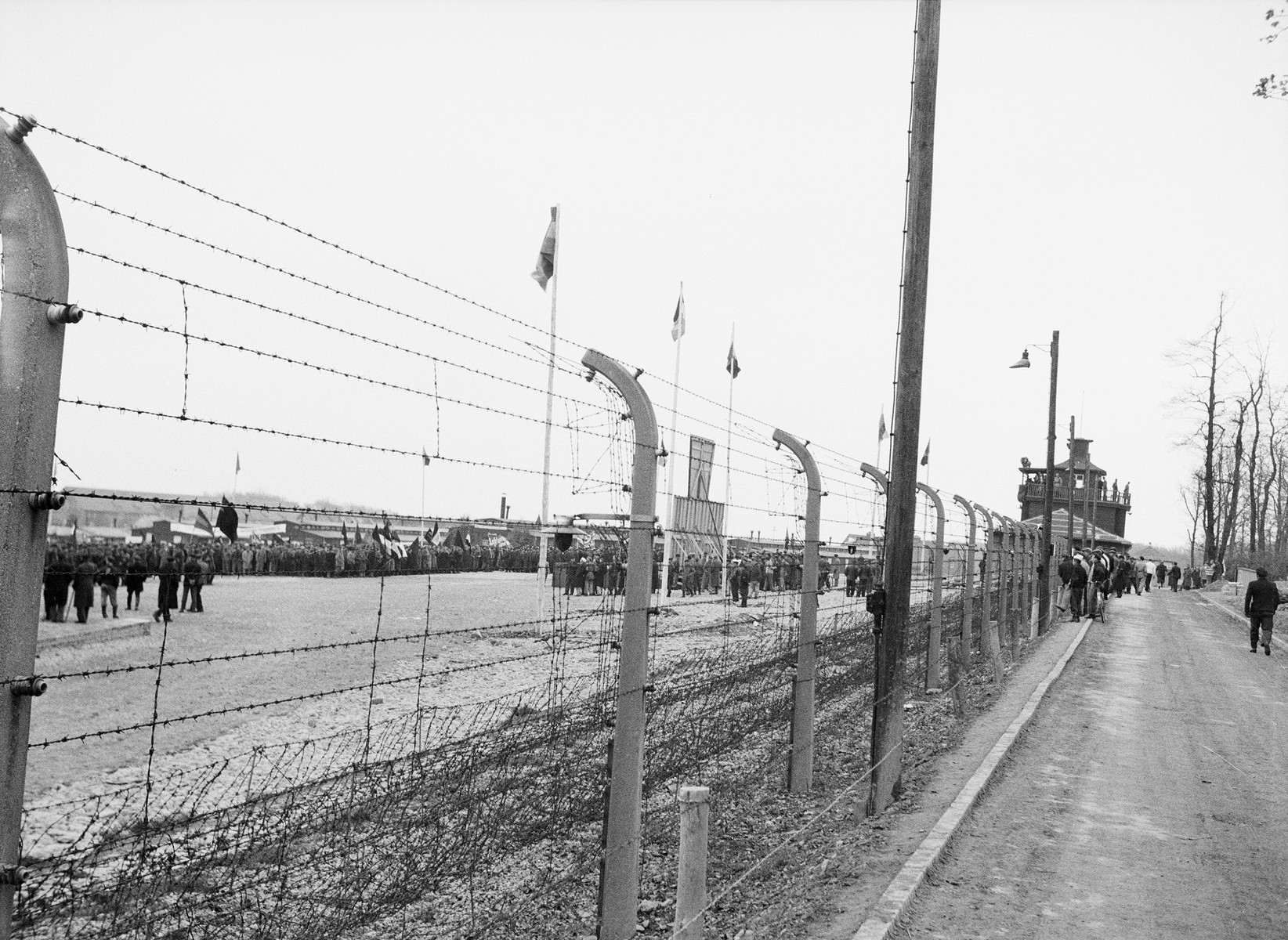 Long view of the electrified barbed wire fences at Buchenwald.
