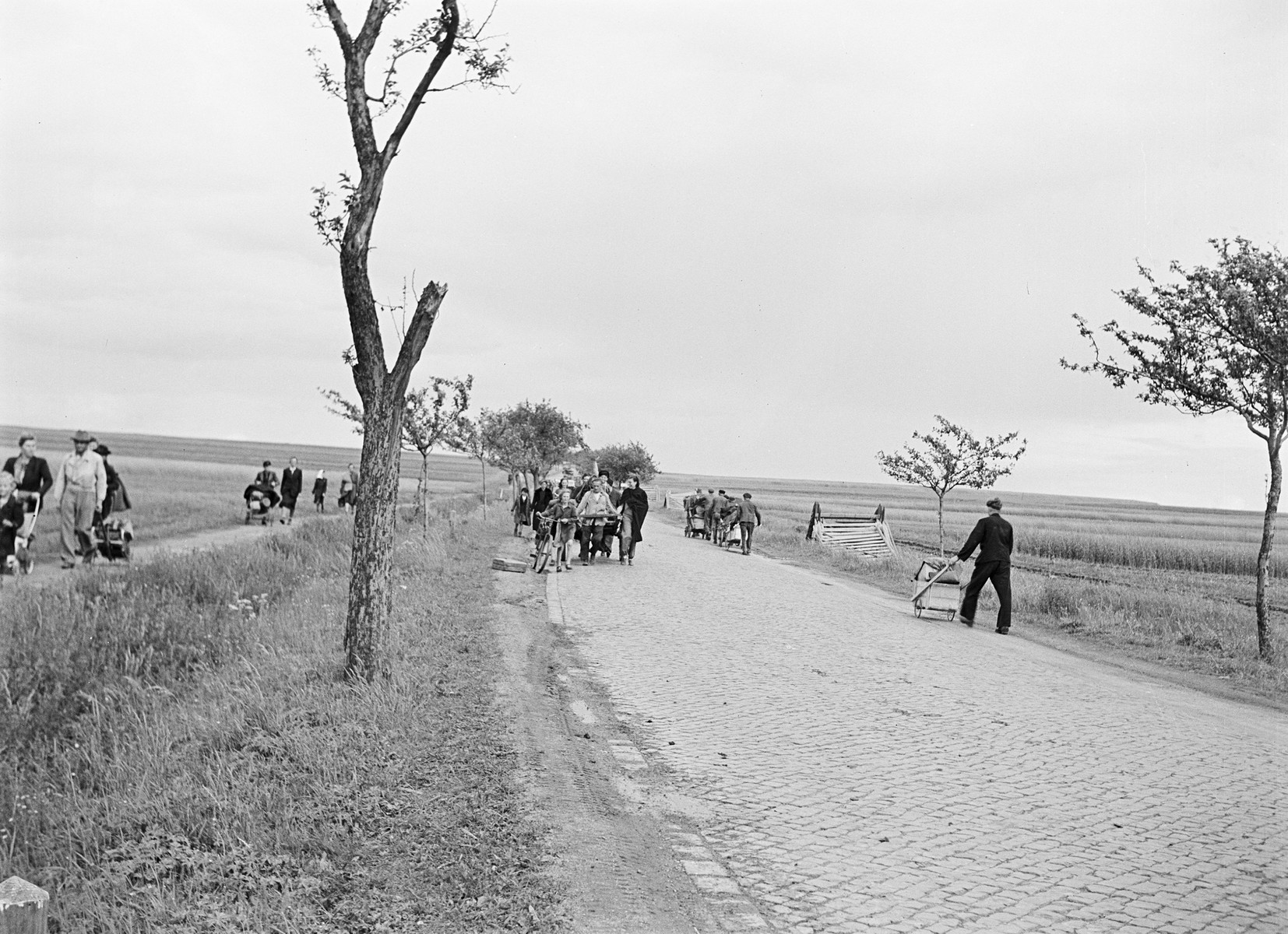 French DPs, likely former forced laborers, walk down a road outside of Weimar, Germany.