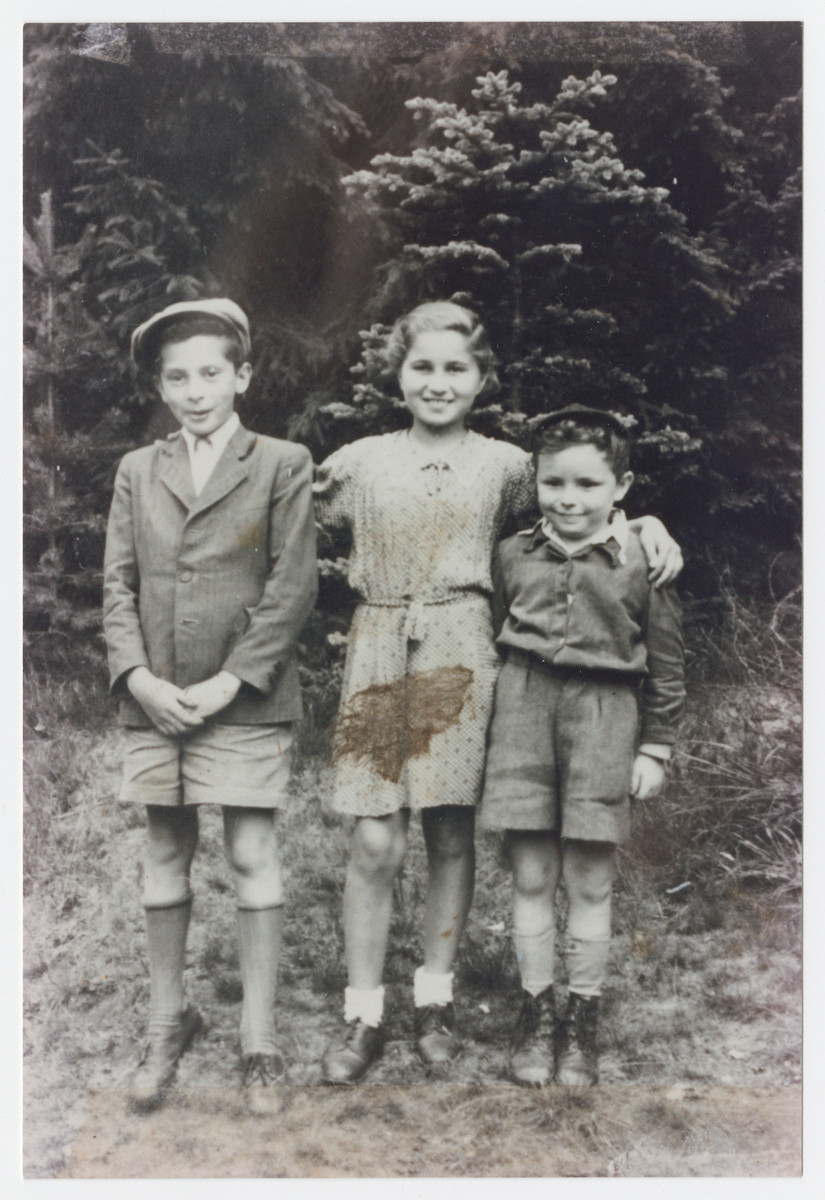 Bronia Bruenner poses two other cousin Shaul Klieger (left) and Shaul (Bobush) Hochstein (right.).    Shaul Klieger and Bronia both escaped Poland with the help of Ben Zion Kalb.