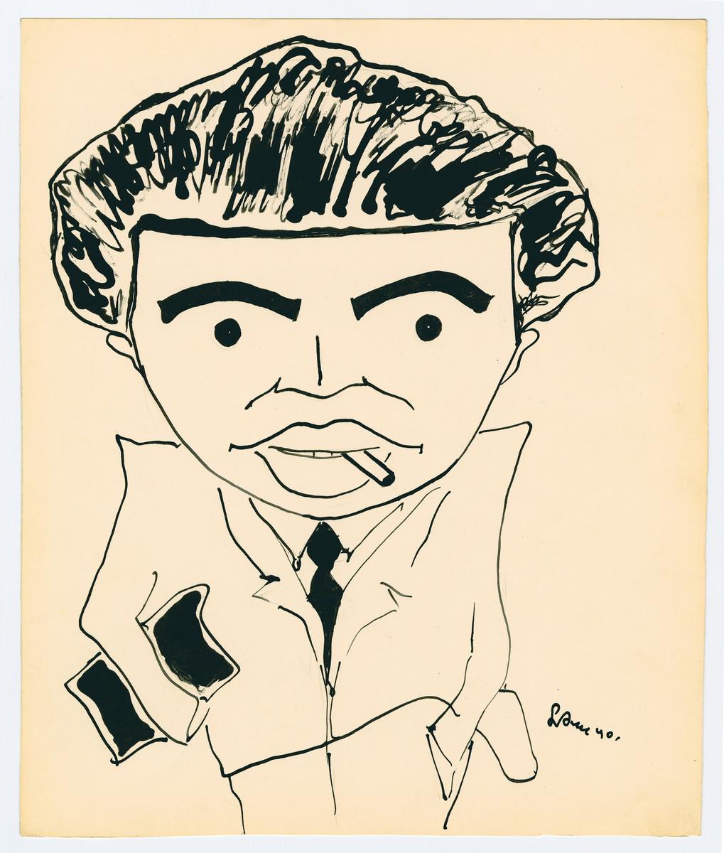 Caricature by Lutek Orenbach of Henick Lieberman.