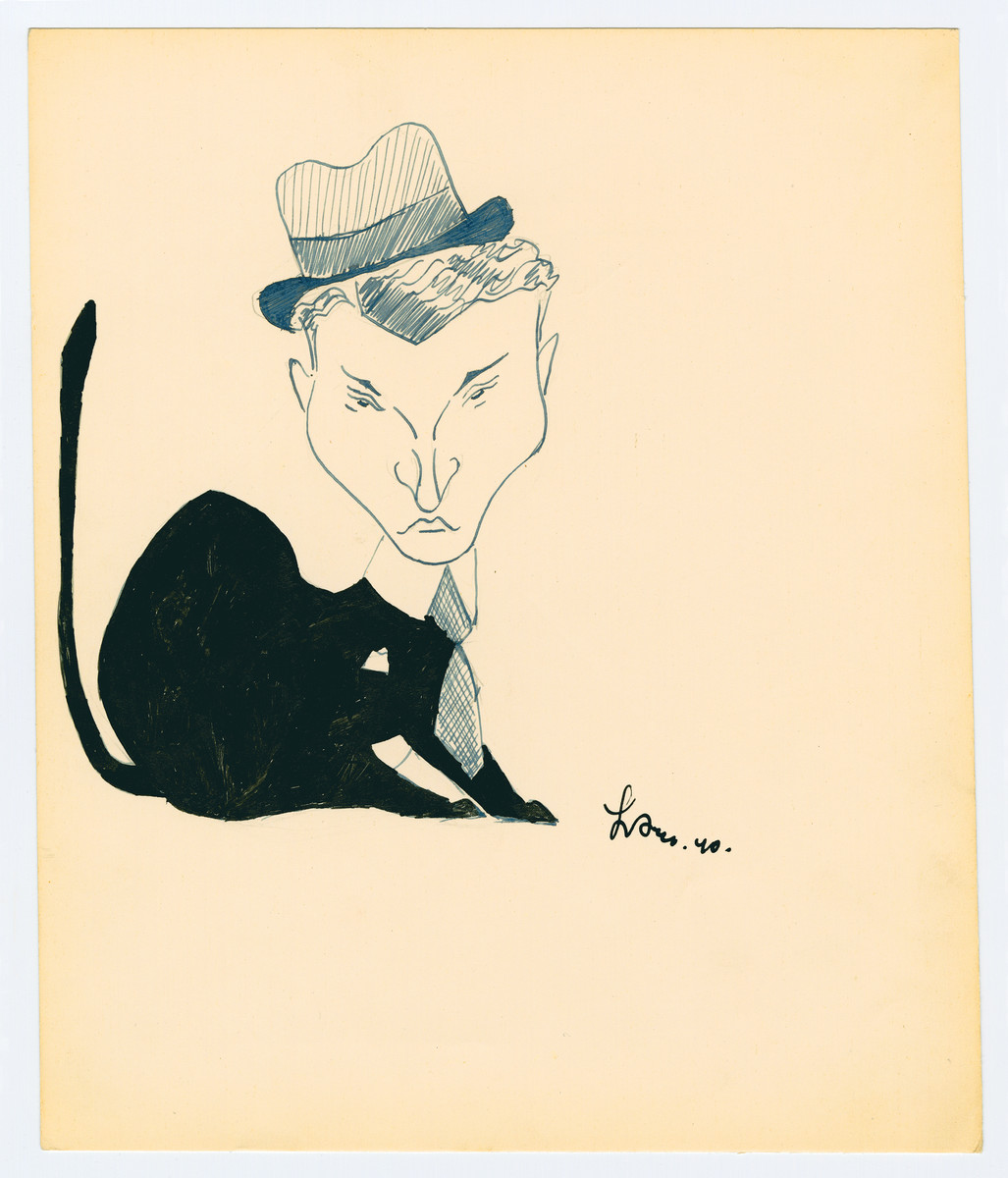 "Caricature by Lutek Orenbach of Abram M. He notes ""Don Juan of Tomaszow and a poser."""
