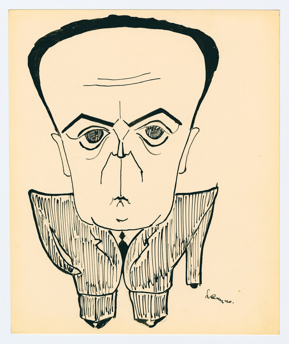 Caricature by Lutek Orenbach of Uncle Knopp.