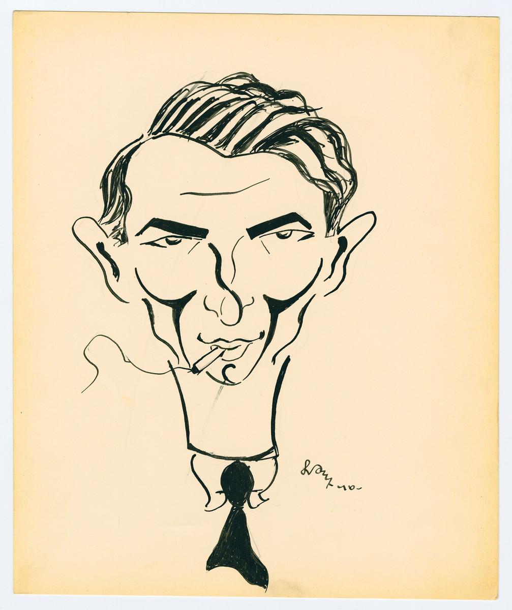 Self-caricature by Lutek Orenbach.