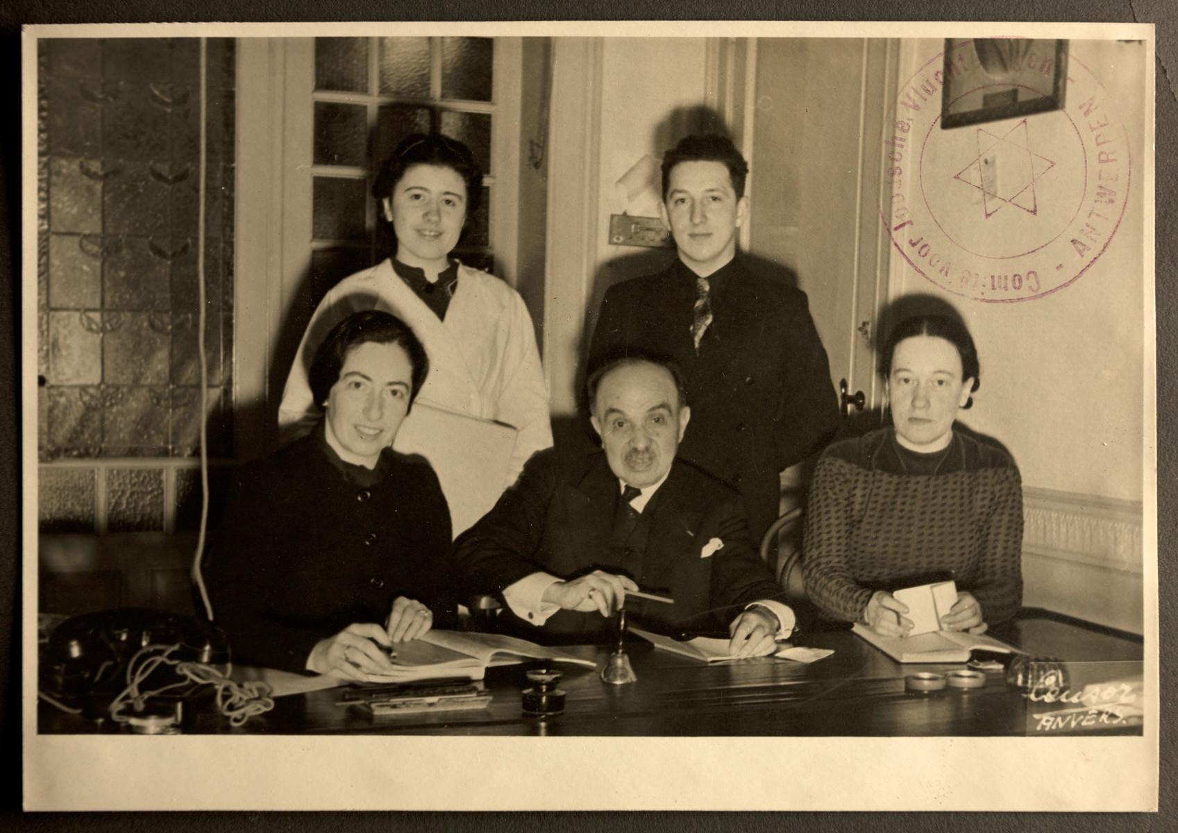 Group portrait of members of the Jewish Refugee Aid Committee of Antwerp
