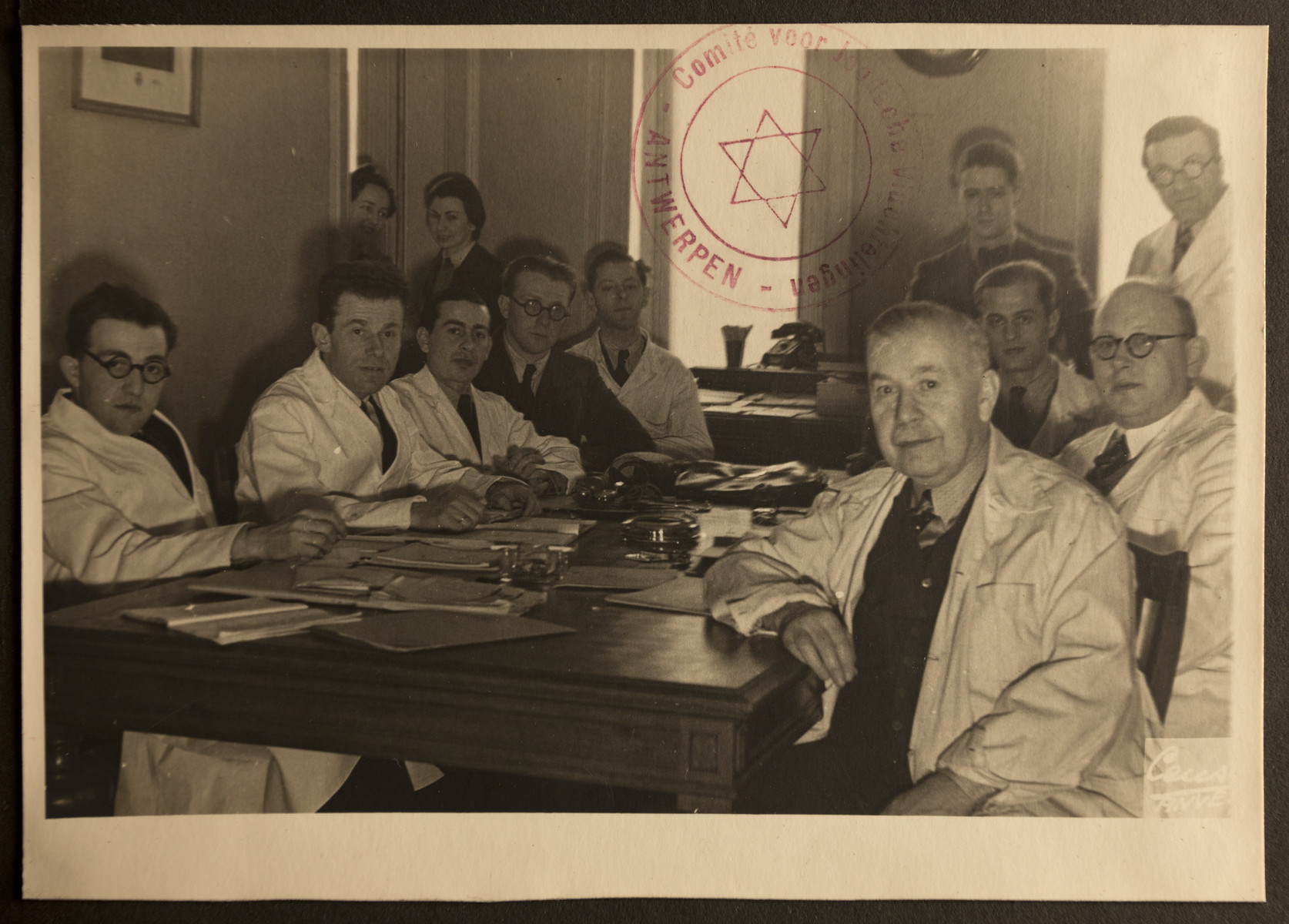 Group portrait of the medical team of the Jewish Refugee Aid Committee of Antwerp.