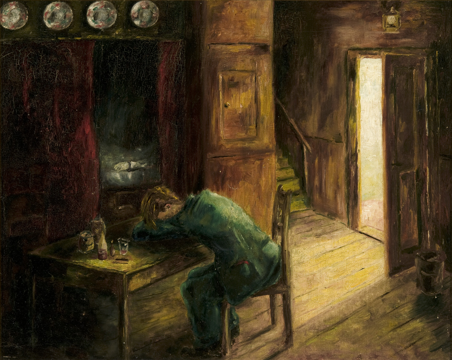 Self-portrait showing himself in dispair sitting with his head on his arms in an imaginary room painted by Heinz Geiringer, a Jewish teenager in Amsterdam, while in hiding to keep himself occupied.  The paintings were hidden under the floorboards of the hiding place and retrieved after the war.
