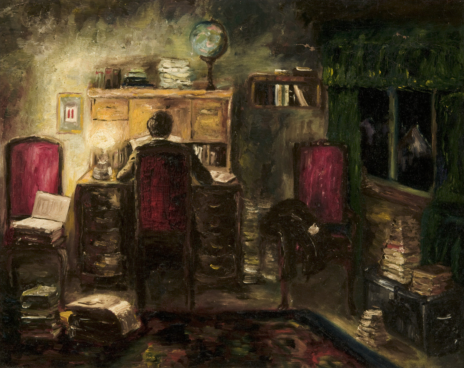 Self portrait showing the artist studying in an imaginary room painted by Heinz Geiringer, a Jewish teenager in Amsterdam, while in hiding to keep himself occupied.  The paintings were hidden under the floorboards of the hiding place and retrieved after the war.