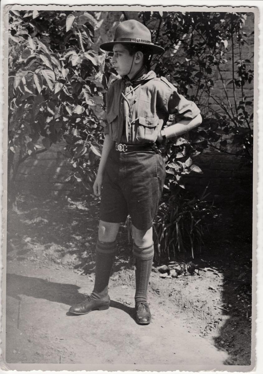 Close-up portrait of Heinz Geiringer wearing his boy scout uniform.