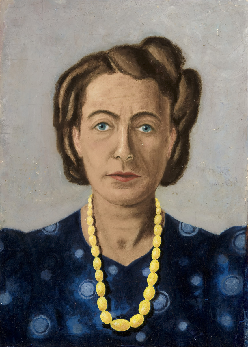 Portrait of Fritzi Geirnger painted by her husband Erich while in hiding.  The paintings were hidden under the floorboards of the hiding place and retrieved after the war.