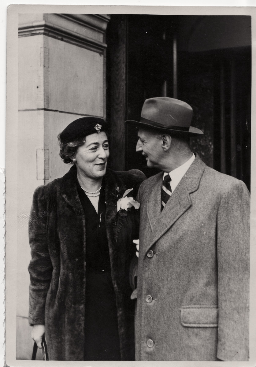 Wedding of Otto Frank and Fritzi Geiringer.  They met and married after each had lost their spouses during the Holocaust.
