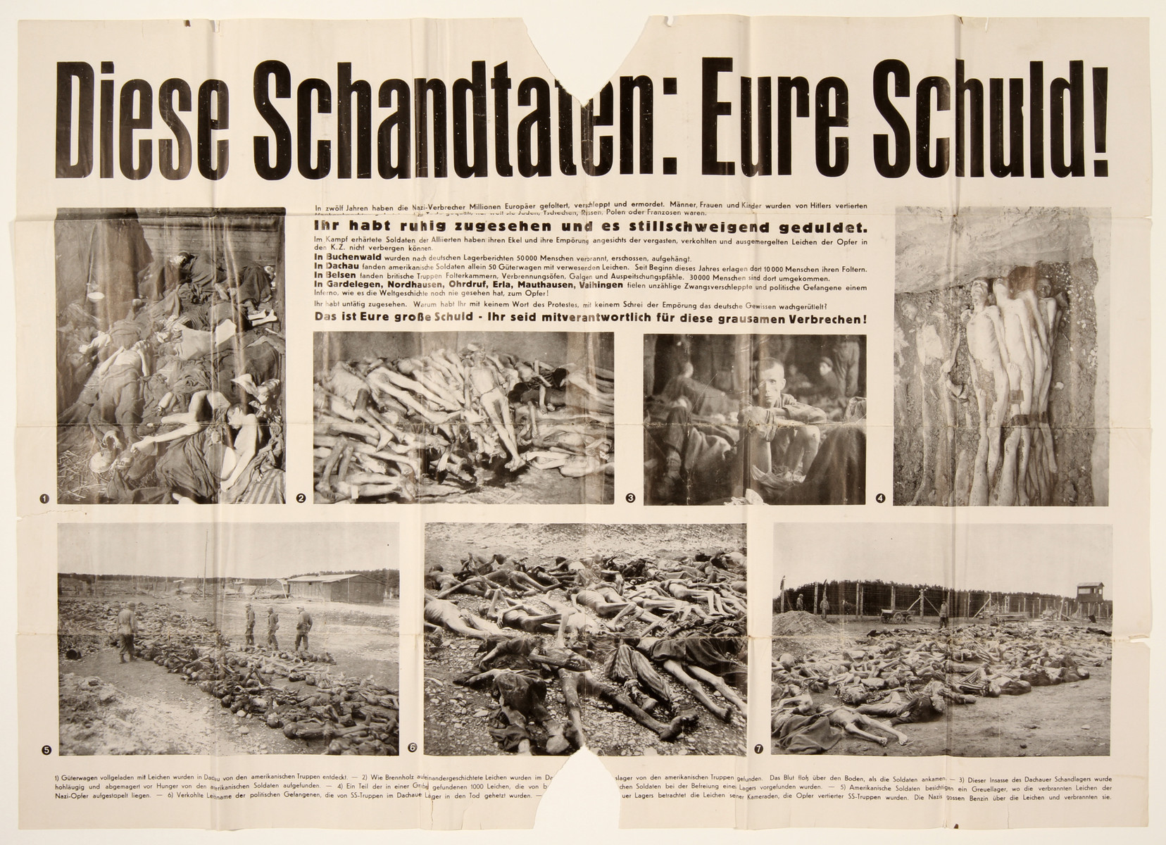 """Denazification poster entitled """"These outrages: Your fault!""""  The poster is  illustrated with seven horrific photographs of various concentration camps following liberation and the subtitle reads: """" You've watched and quietly tolerated it""""."""