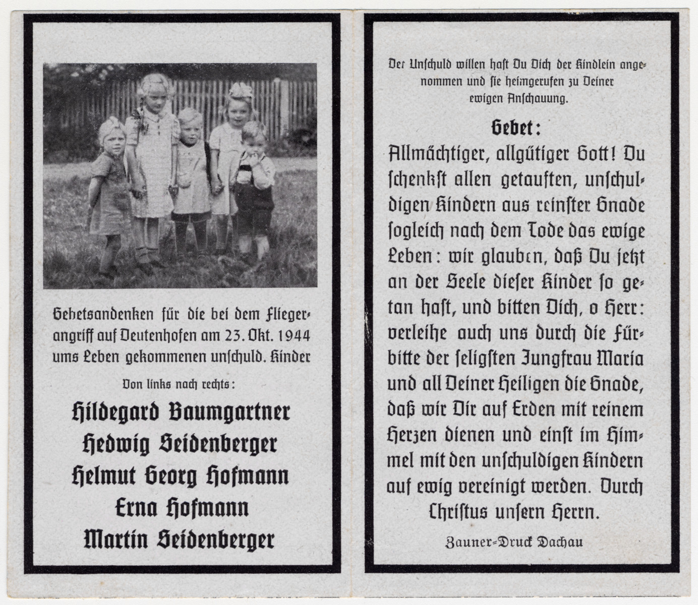 Memorial card to the memory of German children killed in an Allied bomb attack.  On the right is Martin Seidenberger, the nephew of the donor.