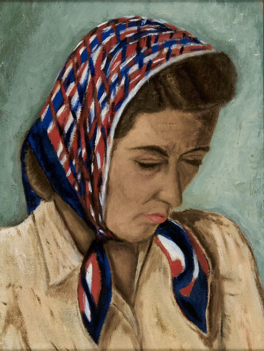 Portrait of Fritzi Geiringer painted by her husband Erich while he was in hiding.  The paintings were hidden under the floorboards of the hiding place and retrieved after the war.