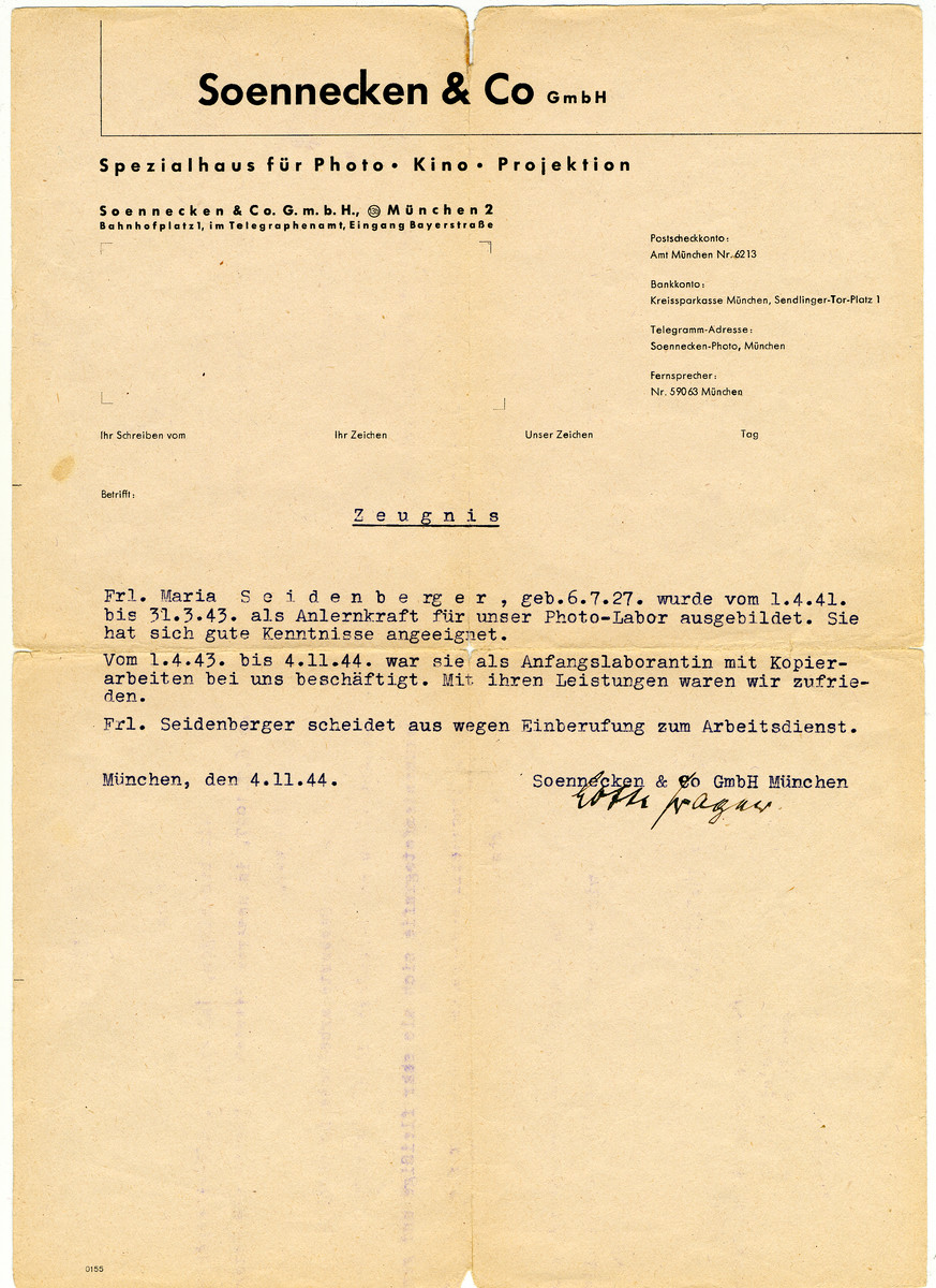 Letter of recommendation testifying to Maria Seidenberger's good work in the Soennecken & Co photo labs.
