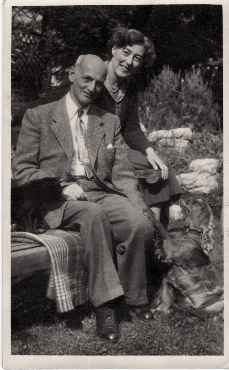 Close up portrait of Otto and Fritzi Frank in Switzerland where they settled after the war.