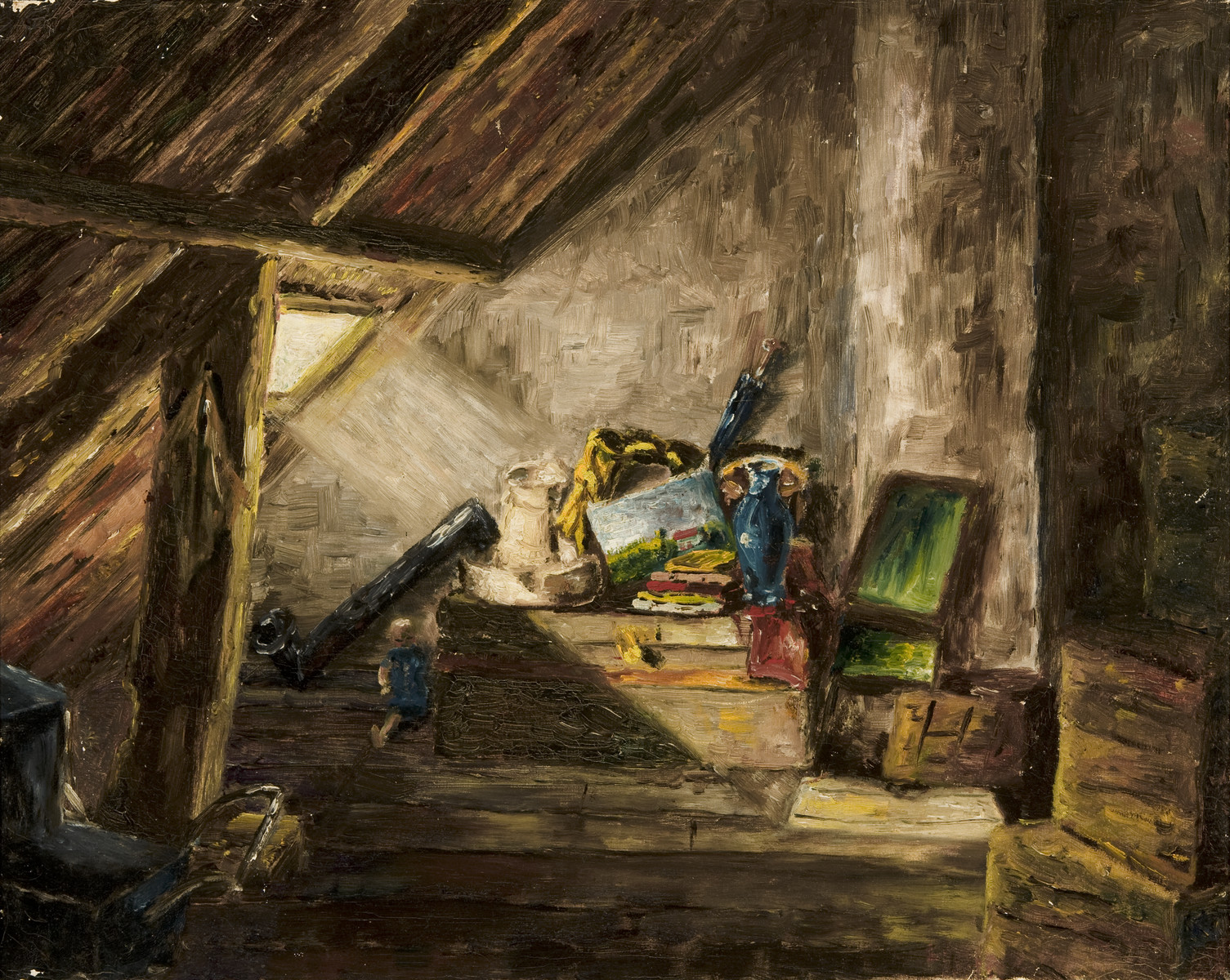 Painting of an attic view drawn by Heinz Geiringer, a Jewish teenager in Amsterdam, while in hiding to keep himself occupied.  The paintings were hidden under the floorboards of the hiding place and retrieved after the war.