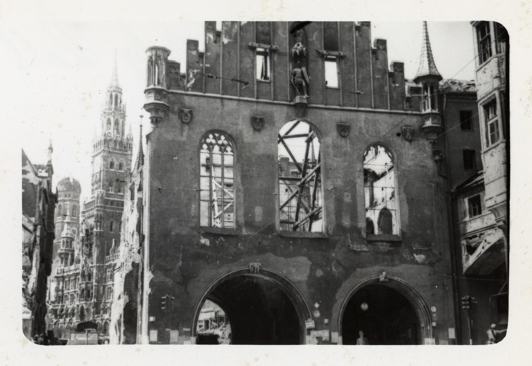 View of the bomb damaged city hall in Munich.