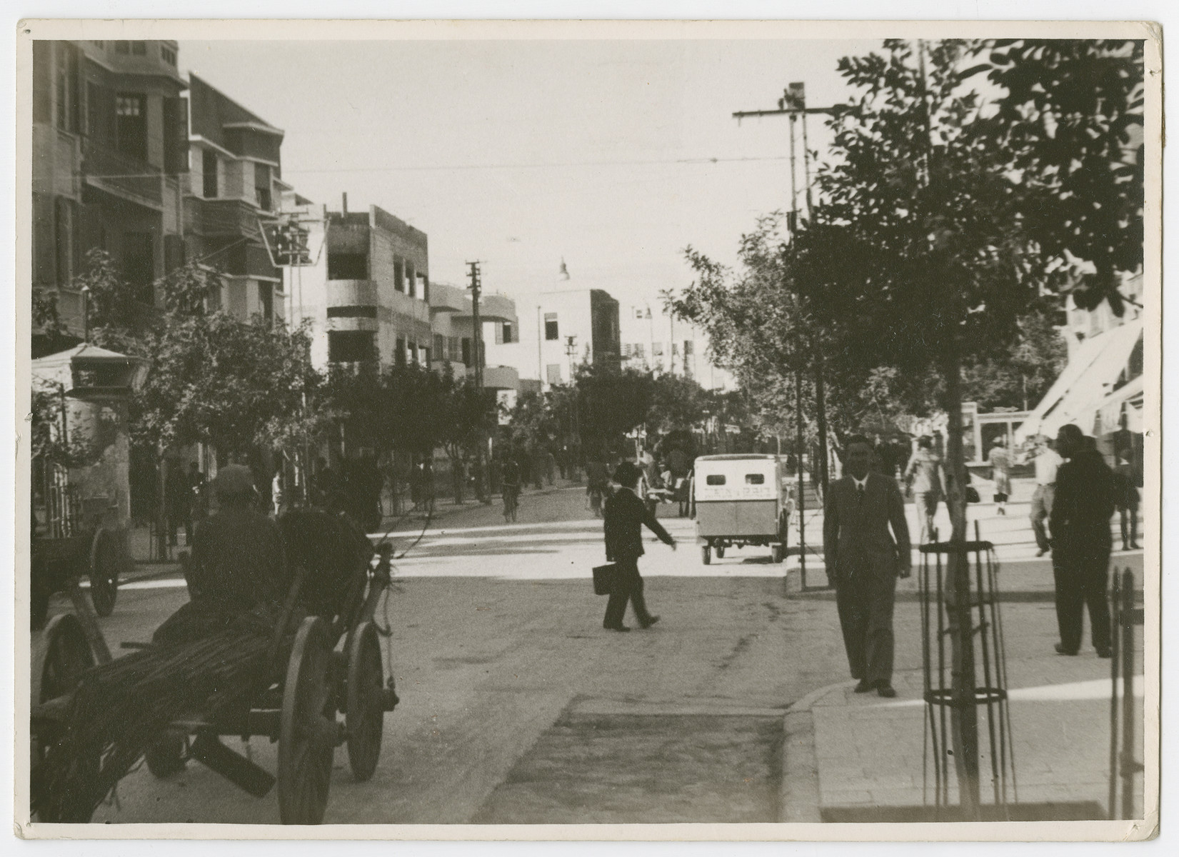 "View of a busy street in Tel Aviv.  Photograph is used on page 173 of Robert Gessner's ""Some of My Best Friends are Jews."""