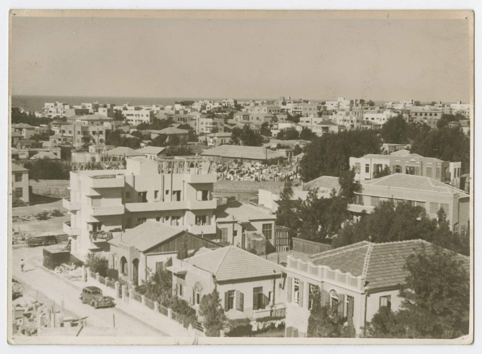 "Panoramic view of Tel Aviv taken from the roof of City Hall.  Photograph is used on page 174 of Robert Gessner's ""Some of My Best Friends are Jews."""