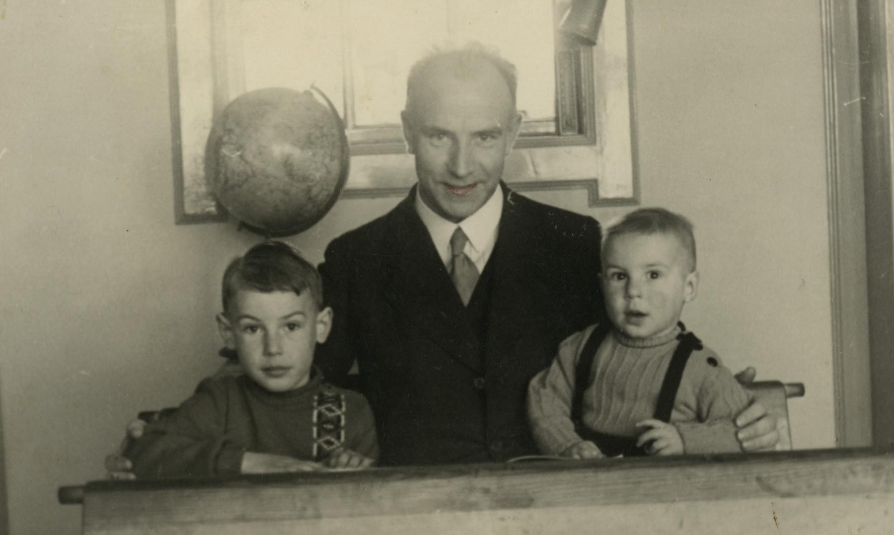 Portrait of a Dutch school teacher and his two sons.  He hid Rachel van den Bergh and Mozes van West for part of the war.