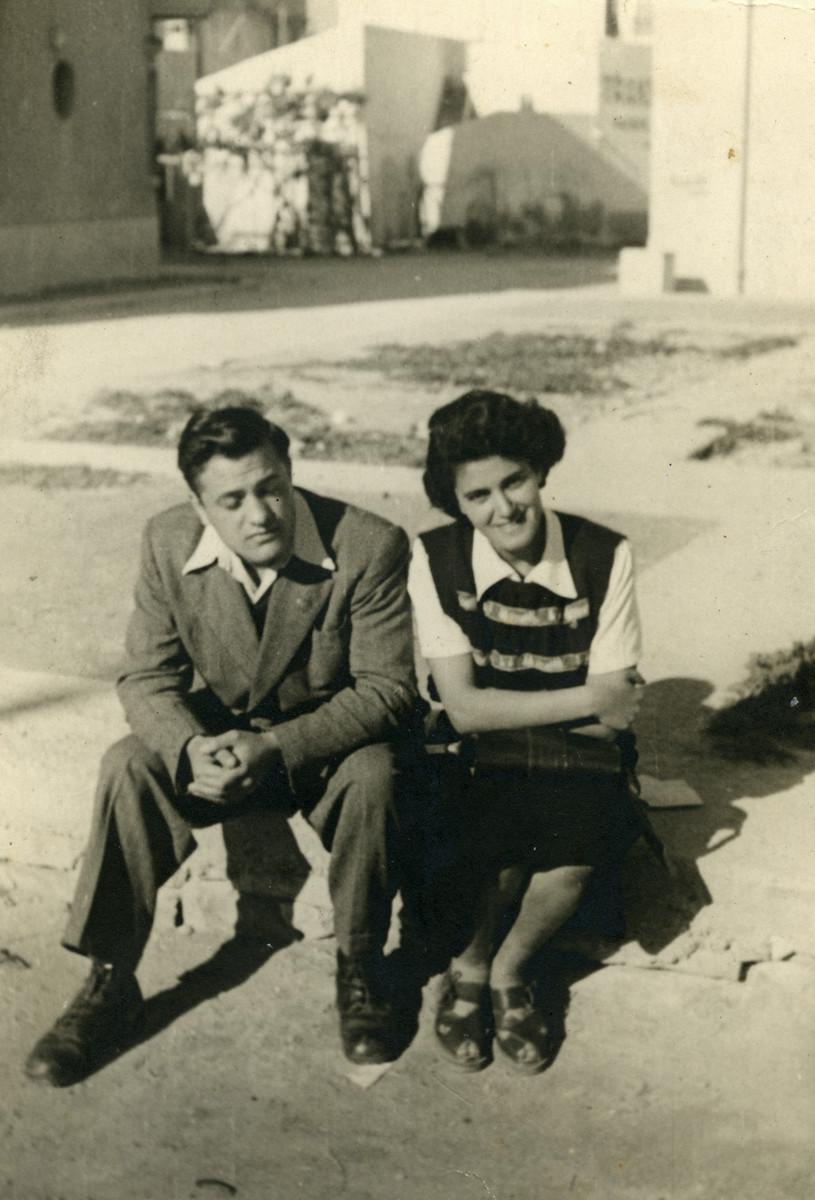 Portrait of two Tunisian Zionist youth.  Pictured are Nadia and Yehudah Cohen.