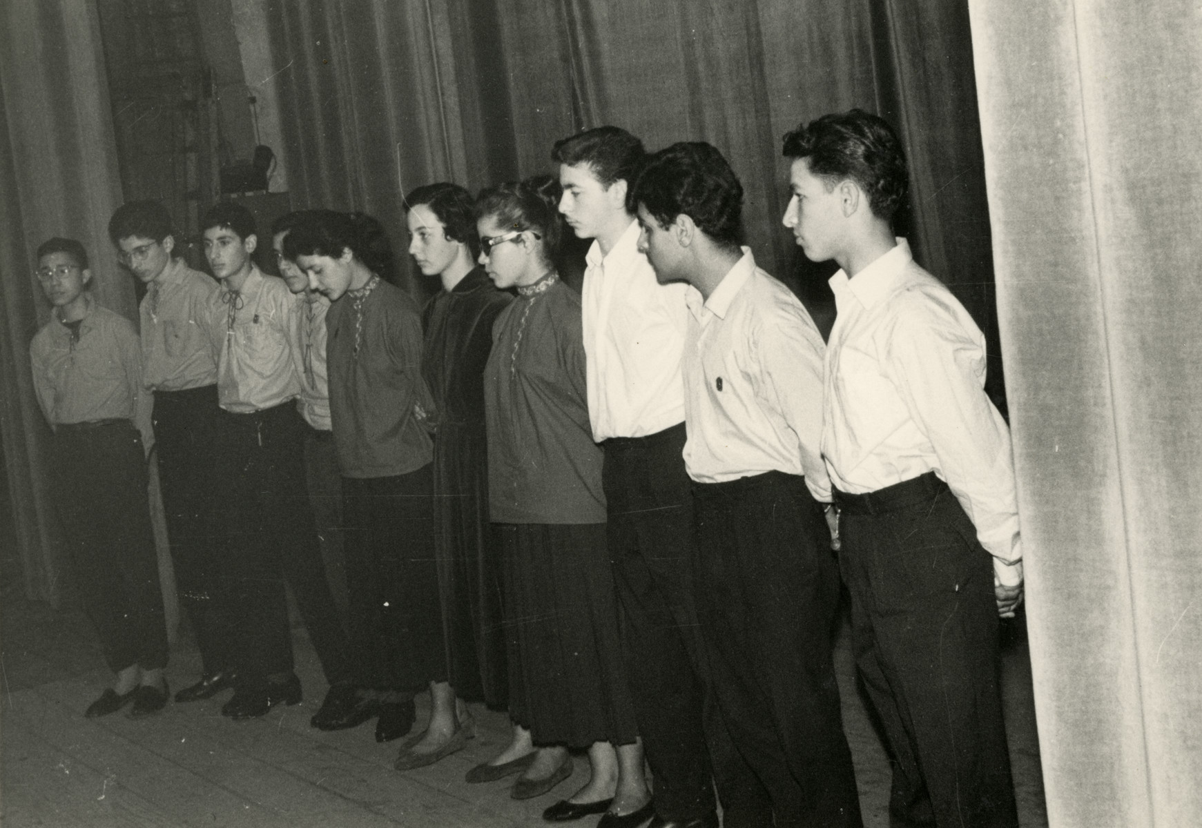 Zionist youth group stand in formation in Blida Algeria.
