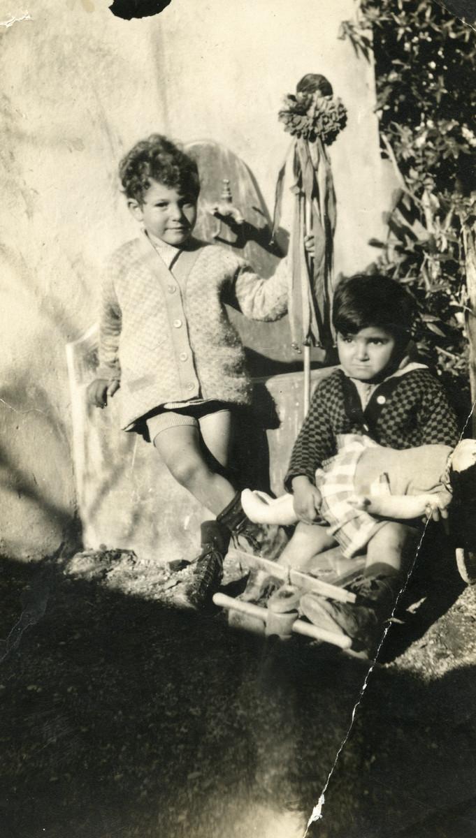 Prewar portrait of two Jewish children, Nadia and Marcel Cohen, in Tunisia.