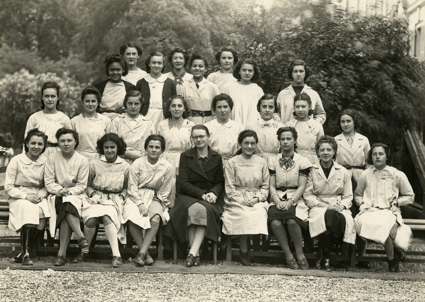 Nadia Cohen with her classmates in a boarding school in France. Nadia is in the first row, 3rd from the left.