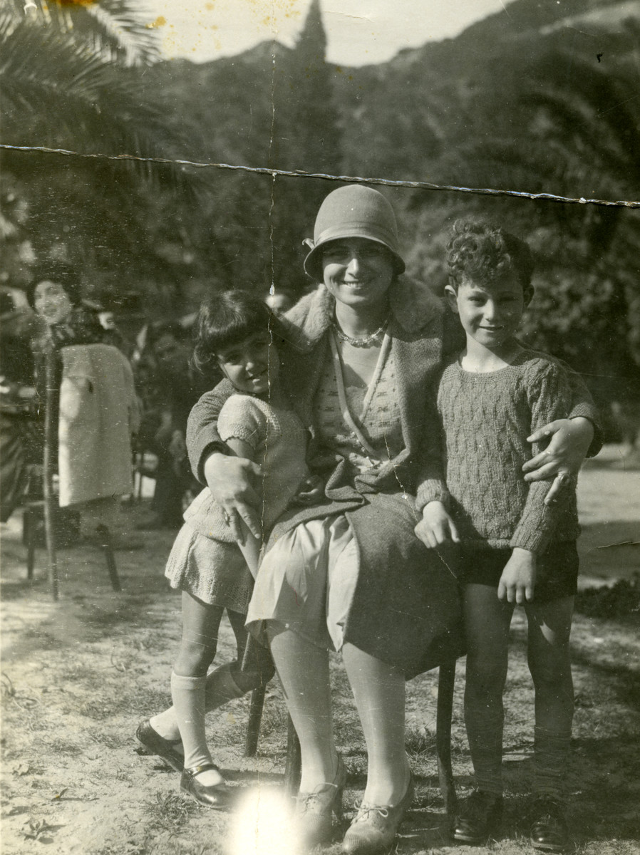 Terese Cohen, a Tunisian Jewish women, poses with hre two children, Nadia and Marcel.