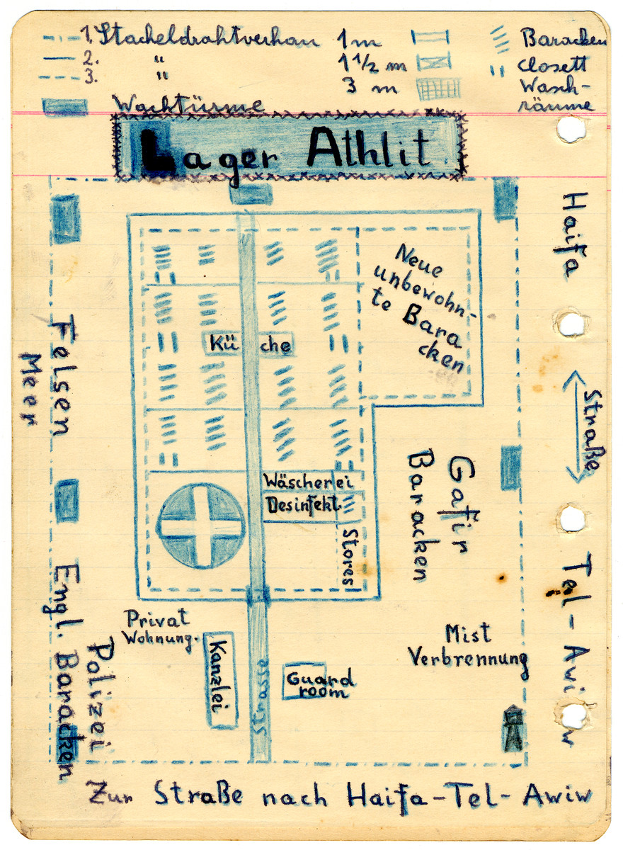 Illustrated page from the diary of Egon Weiss showing the lay-out of the Athlit internment camp which he compiled during and immediately after his detention in the camp.