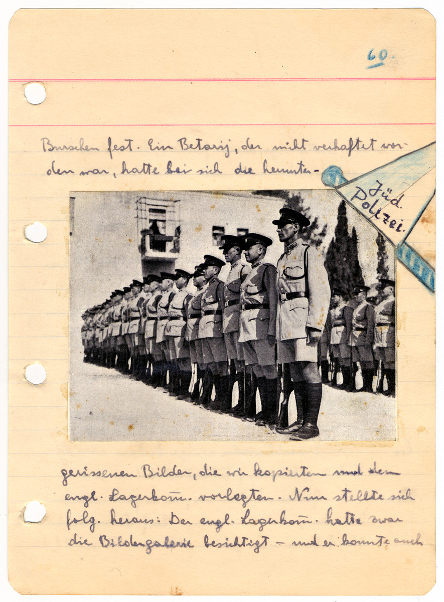 Illustrated page from the diary of Egon Weiss with a photograph of Jewish police standing at attention.