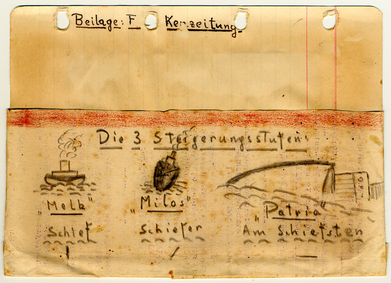 Illustrated page from the diary of Egon Weiss, showing the sinking of the Patria, which he compiled during and immediately after his detention in the camp.