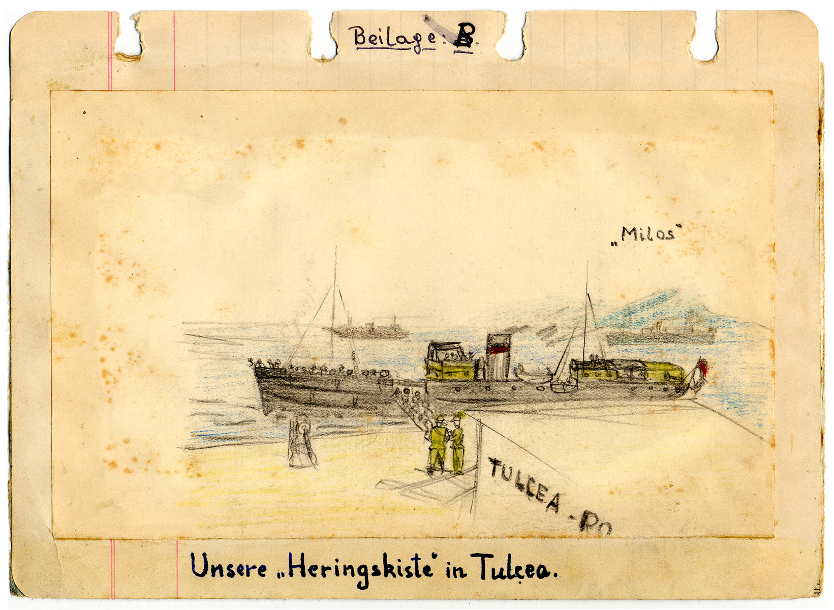 Drawing of the Milos in Haifa Harbor done by a friend of Egon Weiss while interned in the Athlit detention camp.