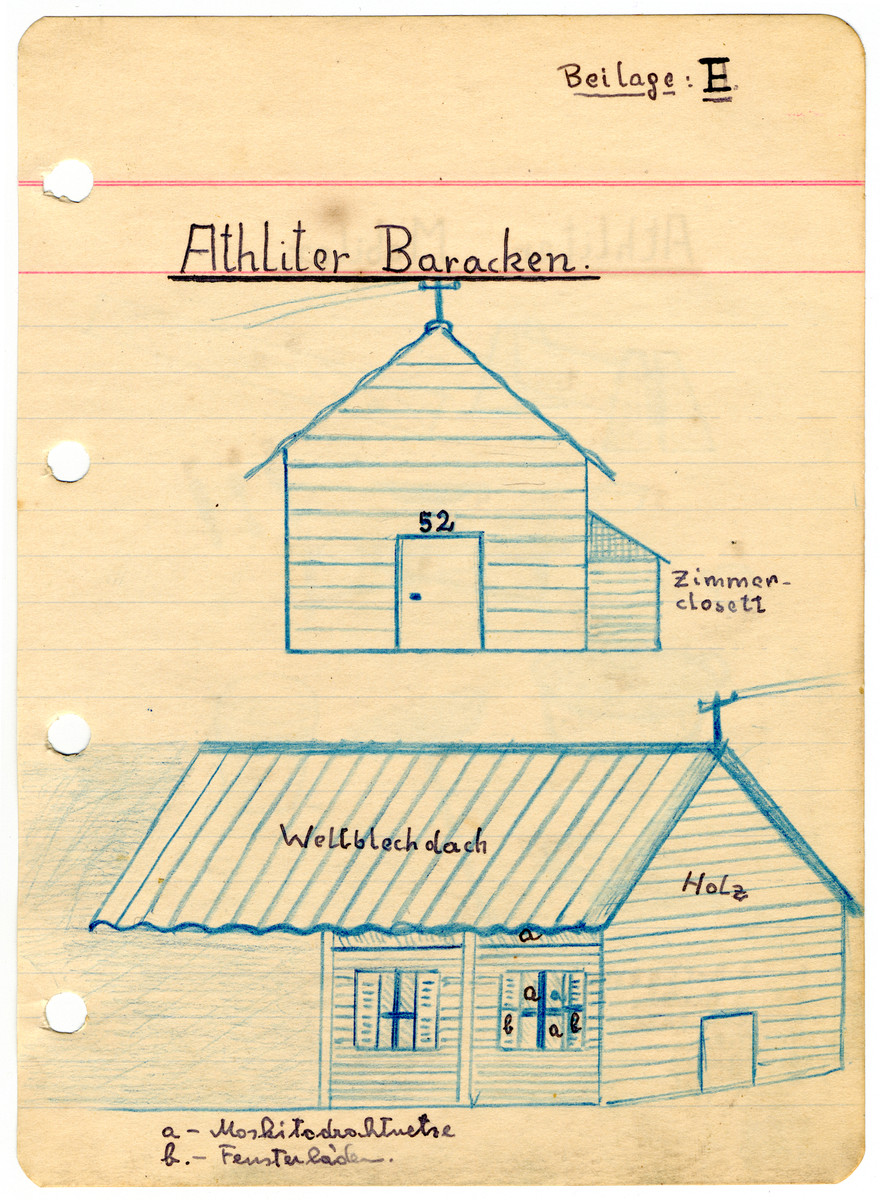 Illustrated page from the diary of Egon Weiss, showing the barracks of the Athlit internment camp, which he compiled during and immediately after his detention in the camp.