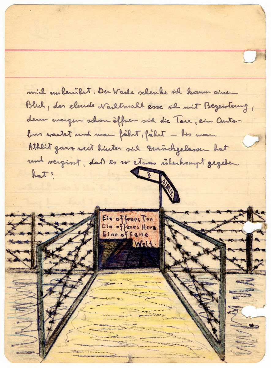 Illustrated page from the diary of Egon Weiss, showing the barned wire fence around the Athlit internment camp, which he compiled during and immediately after his detention in the camp.