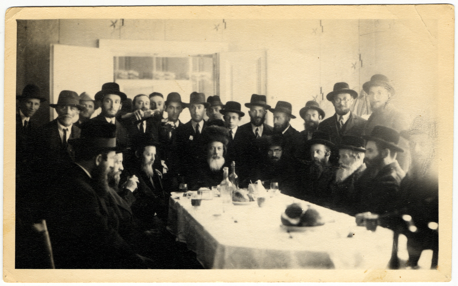 Group portrait of the Dabrowa rabbi and  his court.