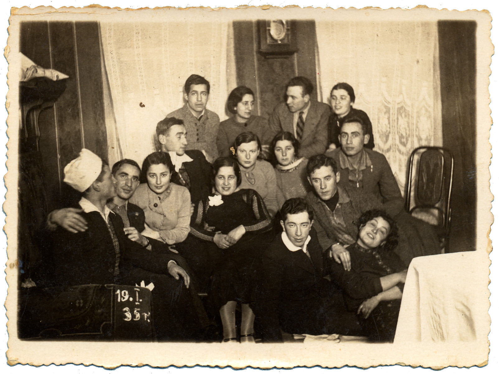 A group of young people pose together for a photograph.   Pictured on the far left is Jan Szelubski.