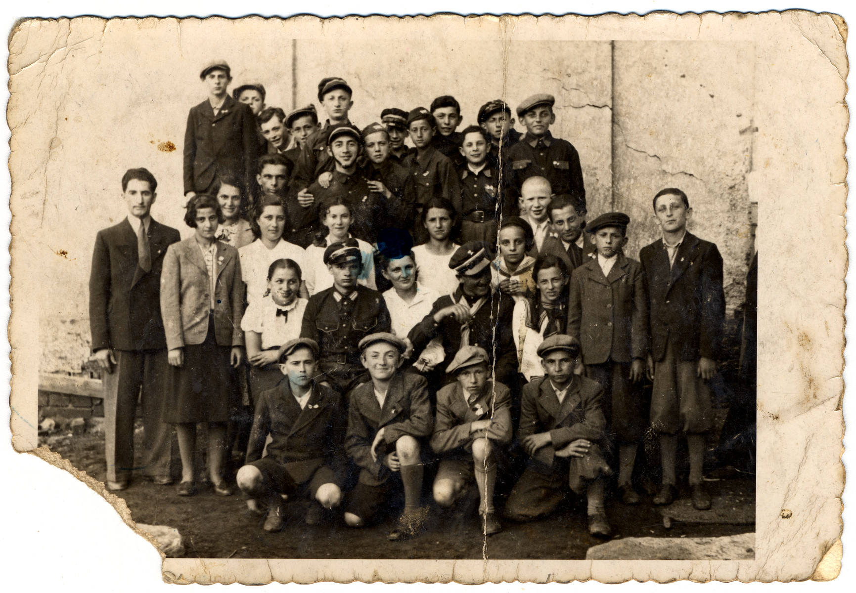 Group portrait of Jewish youth, members of the Betar movement, in Krosno, Poland.